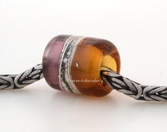 European Charm Lampwork Glass Bead AMBER and AMETHYST light or dark - taneres sra - 13x11 mm