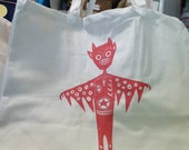 Dare Devil Super Star Red Elvis Rocker shoulder bag screen printed on natural cotton jumbo sized eco friendly shopping tote bag