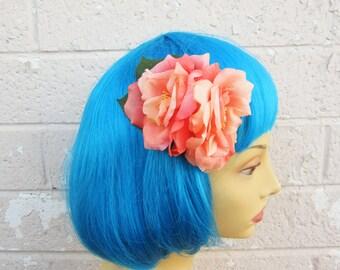 Double Coral Rose Hair Clip, Pinup Rose Hair Clip, Shabby Chic Rose Hair Flower, Peach Rose