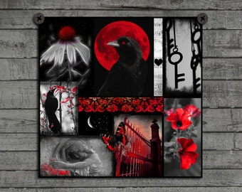 Crow Art Collage, Wall Decor, Goth, Crows, Blackbirds Photograph, Ravens, Bird, Red And Black Image, Print - Gothic Red