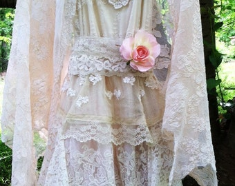 Ivory lace dress wedding  tiered antique  lace tulle fairytale   vintage  bride  romantic small by vintage opulence