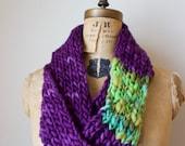 Bohemian knit merino loop infinity scarf. Purple. Seafoam. Mint. Handmade knitwear. Handcrafted circle scarf.