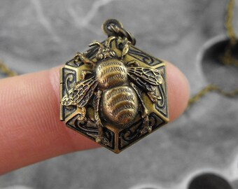 Tiny Golden Honeycomb Bee Locket Necklace - Sweetness of the Bumblebee by COGnitive Creations