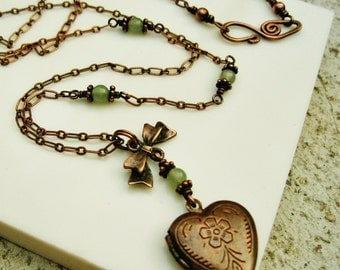 Antiqued Copper Locket with light green aventurine beads wire wrapped necklace