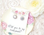 Will you be my bridesmaid earring / Will you be my bridesmaid gift / Bridesmaid Proposal/ Bridesmaid Stud Earrings/ Rose gold earrings