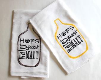 Beer Brewing Towels - Set of 2 - Flour Sack - Home Brewing - Craft Beer - Hops - Malt - Stocking Stuffer - gifts for men