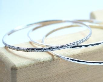 3 Bangle Bracelets, Sterling Silver Set, Art Deco Pattern