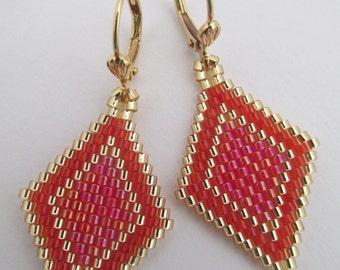 Seed Bead Earrings - Red