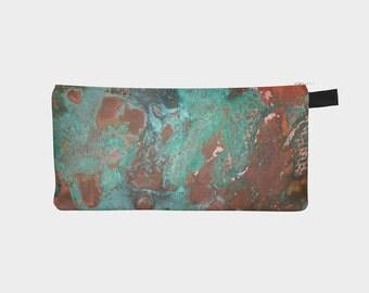 Rusted Copper Cosmetic Pencil Case Rust Makeup Bag Modern Printed Zipper Clutch Metal Makeup Case