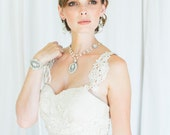 """Bridal Tie Bracelet   Pearl & Crystal Art Deco Wedding Cuff   Couture Handcrafted Lace   Edwardian, Vintage-inspired   """"Victorine"""""""