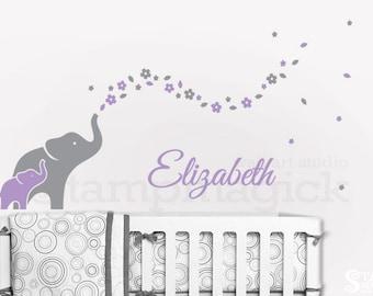 Elephants Wall Decal for Nursery - Elephants Wall Art - Elephant Wall Decor - Flowers & Baby Name vinyl sticker girl bedroom room - K344