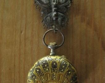 butterflies ~ antique pocket watch rosary gemstone neck adornment