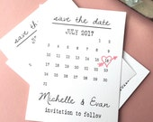 Calendar Save the date Template, heart date save the date cards, calendar wedding date PRINTABLE save the date