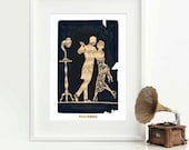 Art Deco romantic couple print, French decor, dancing couple, home decor, 1920s, flapper, silhouette, gramophone, phonograph, wall art