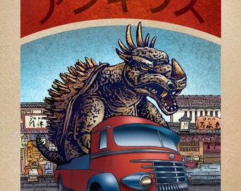 Anguirus Monster Truck 8 x 10  signed print- Japanese Kaiju Monster in Truck