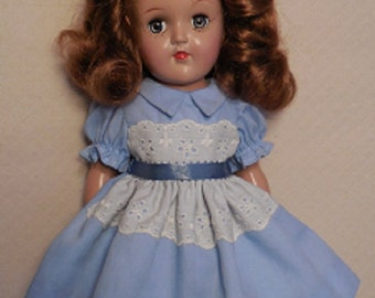 "For 14"" P-90 Ideal Toni Doll - Light Blue Dress with Eyelet Lace and Panties.  Also Fits Rosette"