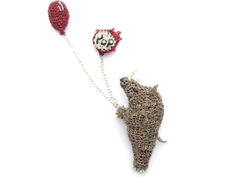 Animal jewelry, Rhino with balloons double brooch - rhino jewelry, rhinoceros brooch, comical jewelry, wild animal, fun crochet brooch