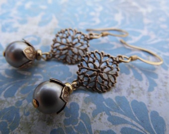 Elegant Pearl Dangle Earrings with Swarovski Crystal Pearls and Antique Brass Filigree