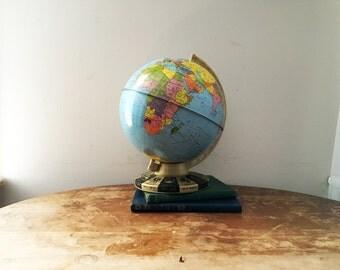 vintage 70s 80s Ohio Art Small Desk World Globe // Astrology Zodiac Symbol Base // Worn & Lovely Office Decor