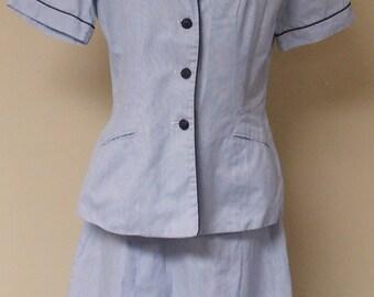Vintage light blue Navy nurse uniforms 40s 2 piece skirt jacket
