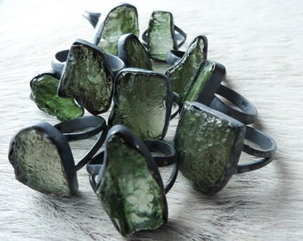 Moldavite ring | Rough moldavite ring | Raw moldavite ring | Tektite jewelry | Healing jewelry