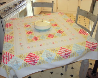Vintage Mid Century Tablecloth Mod Leaves