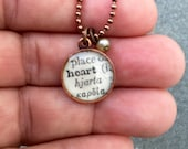 vintage dictionary word charm 'heart' antiqued copper necklace repurposed - what's your word gift SALE