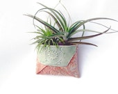 Pink and Mint Vase Ornament - Hanging Ceramic Planter - Small Pocket Pouch Decor for Air Plants - Indoor Planter for Office