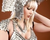 The Silver Queen-Deluxe Scale Maille scalemail bra halter dragon armor LARP Burning Man Renaissance cosplay bikini