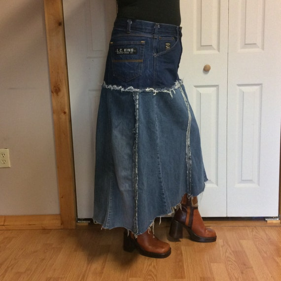 upcycled denim plus size blue jean skirt high by sewsomer