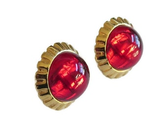 Vintage Red Lucite Cabochon High Domed Button Earrings