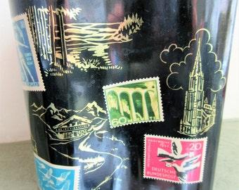 Vintage Tin, Postage Stamps, World Travels, Metal Lidded Tin, European Landmarks, Square Shaped Tin, Lidded Storage Container, Retro Tin