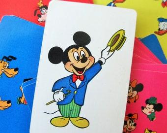 Vintage Mickey Mouse Card Game, Disney Character Game, Disney Card Game, Whitman Cards 1960s Mickey Mouse, Vintage Card Deck Children's Card