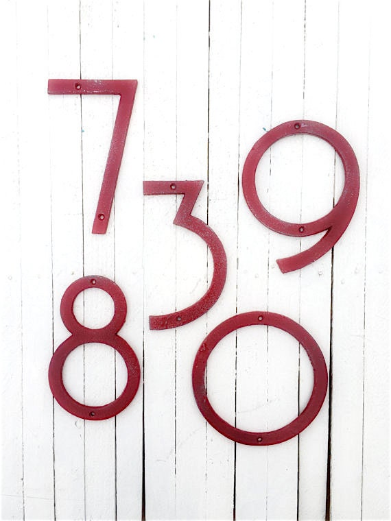 Large Numbers Modern House Numbers Mid Century Modern Iron