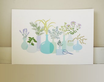 culinary herb garden botanical original modern digital floral gardening art reproduction print kitchen garden colorful spring pastels