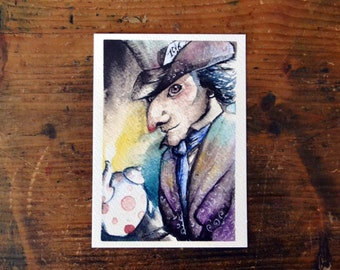 Mad Hatter Postcard. Print watercolor Illustration from Alice in Wonderland by Lewis Carroll