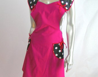 Charming 1930's Style Retro Apron - Pink with Black and White Polka Dots -Medium / Large -Pink and Black Full Apron - Vintage Style Apron