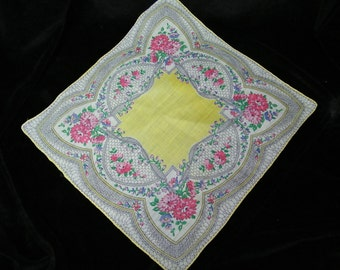 Vintage 1940's Pink and Purple Mixed Floral Wedding Handkerchief or Doily, 9708