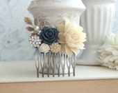 Ivory Rose, Navy Blue, Crystal Rhinestone, Sprig Leaf, Beige Cream, Unique Flower Comb. Vintage Rustic Blue Ivory Wedding. Prom Graduation