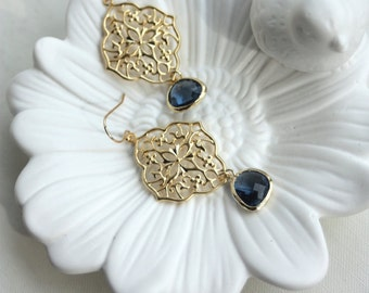 Navy Blue Earrings, Something Blue Earrings, Navy Wedding, Navy Earrings, Blue Bridal Earrings, Navy Wedding Earrings Blue and Gold Earrings