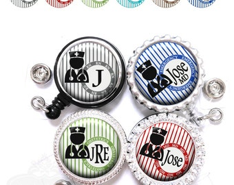 Male Nurse Badge Reel - Personalized Stripes Retractable Lanyard ID in 6 Colors with Name, Monogram, Occupation Title (A360)