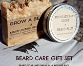 "Beard Care Gift Set - All-Natural Shampoo and Conditioning Soap for the Beard & ""Mountain Man's Glory"" Beard Balm"