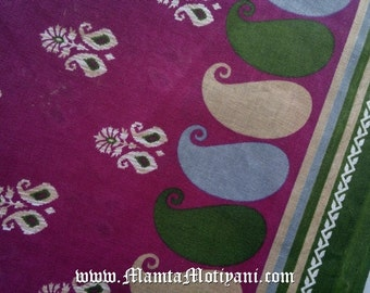 Paisley Print Cotton Sari Fabric By Yard, Purple Block Printed Floral Fabric, Lightweight Material, Handmade Indian Soft Saree Fabric