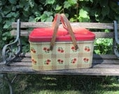 Reserved for Lydia Tin Picnic Basket 1950s Red and Yellow Wood Handles