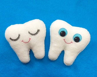 Tooth Fairy Pillow - Tooth Holder- Dentist Gift - Tooth Plush With back pocket - Tooth keepsake - Tooth Fairy Pillows