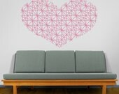 Heart vinyl wall decal, Geometric Heart Wall Decal, Love Wall Sticker, Heart Sticker