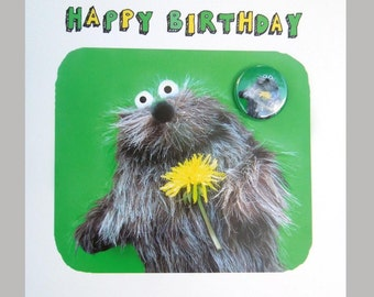 furry friend beaver creature birthday badge card