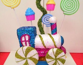 Candy Land Train Centerpiece  Cupcake lollipop glitter candyland train