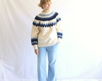 SALE vintage 70s chunky fair isle sweater unisex  Brooks Brothers made in Norway