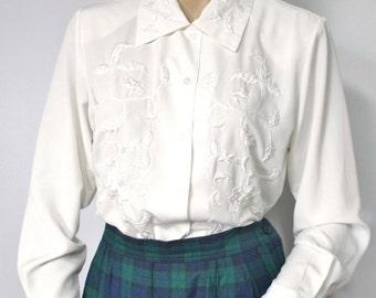 Vintage Blouse Cream Secretary Blouse Embroidered Long Sleeve Blouse Women's Shirt Top 1990's Patchington Size 4 Blouse